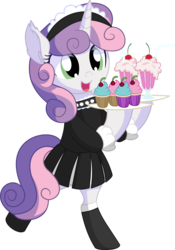 Size: 5416x7740 | Tagged: safe, artist:cyanlightning, sweetie belle, pony, unicorn, .svg available, absurd resolution, bipedal, clothes, cupcake, cute, dress, ear fluff, female, filly, food, maid, milkshake, simple background, socks, solo, stockings, thigh highs, transparent background, vector