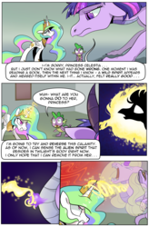 Size: 1800x2740 | Tagged: alicorn, artist:candyclumsy, canterlot, canterlot castle, casting, comic, comic:celestia's cronenberg, commissioner:bigonionbean, confusion, dialogue, dragon, dragoness, dragon eyes, dragonified, female, ghost, jewelry, magic, pony, possessed, princess celestia, regalia, safe, shocked, smoke, snorting, species swap, spike, spirit, transformation, twilidragon, twilight sparkle, twilight sparkle (alicorn)