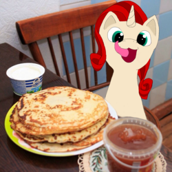 Size: 800x800 | Tagged: 8chan, artist:anonymous, blini, catjazz, cream, cyrillic, edit, food, jam, kot blini, licking, licking lips, meme, oc, oc:ruby (8chan), pancakes, /pone/, ponified animal photo, russian, safe, tongue out