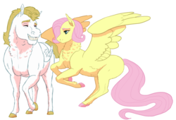 Size: 1434x974 | Tagged: alternate hairstyle, artist:sizzcake, bulk biceps, bulkshy, chest fluff, colored hooves, early pregnancy, female, flutterbulk, fluttershy, flying, male, mare, missing cutie mark, neck fluff, one hoof raised, pregnant, safe, shipping, short mane, simple background, straight, white background
