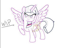 Size: 1074x874 | Tagged: alicorn, artist:n3ro 182, book, lifted hoof, safe, solo, twilight sparkle, twilight sparkle (alicorn), wings, wip