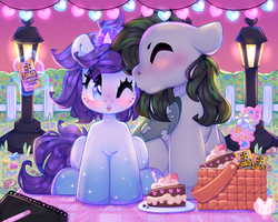 Size: 6000x4788 | Tagged: absurd res, artist:bunxl, basket, birthday, birthday cake, book, cake, changeling, fairy lights, faultigo, flower, food, gradient hooves, hedge, kissing, kiss on the cheek, lamp, note pad, oc, oc:faulty, oc:indigo wire, one eye closed, pencil, picket fence, picnic, picnic basket, picnic blanket, pony, ponytail, pop, safe, shipping, sketchbook, soda, soda can, solo, street lamp, sunset, unicorn, wingding eyes, wink