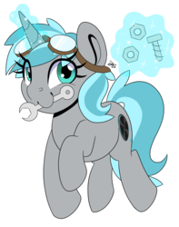 Size: 3152x4000 | Tagged: artist:partylikeanartist, bolts, goggles, looking away, nuts, oc, oc:rym, oc:rym waggles, pony, safe, safety goggles, smiling, solo, unicorn, wrench