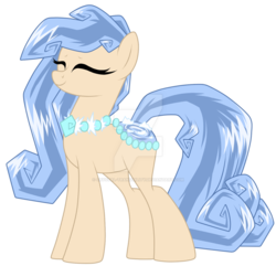 Size: 1280x1235 | Tagged: artist:crystal-tranquility, deviantart watermark, female, mare, obtrusive watermark, oc, oc:diamond glacier, original species, pond pony, pony, safe, simple background, solo, transparent background, watermark