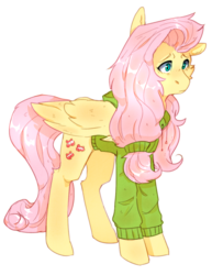 Size: 960x1245 | Tagged: clothes, female, fluttershy, pegasus, safe, side ponytail, simple background, sweater, white background, worried
