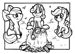 Size: 1097x786 | Tagged: apple bloom, artist:shemalioness, artist:shema-the-lioness, black and white, campfire, color me, cutie mark crusaders, earth pony, female, filly, fire, food, grayscale, inktober, lineart, marshmallow, monochrome, pegasus, pony, safe, scootaloo, sidemouth, sitting, smiling, s'mores, spread wings, sweetie belle, tongue out, trio, unicorn, wings