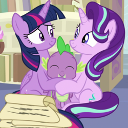 Size: 880x880 | Tagged: a horse shoe-in, alicorn, cropped, dragon, female, group hug, hug, lucky bastard, male, mare, pony, safe, screencap, smiling, spike, spoiler:s09e20, starlight glimmer, twilight sparkle, twilight sparkle (alicorn), unicorn, winged spike