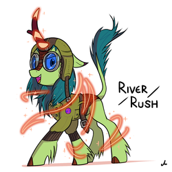 Size: 3000x3000 | Tagged: artist:docwario, aviator goggles, aviator hat, clothes, goggles, hat, jacket, kirin, oc, oc only, oc:river rush, safe, solo