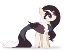 Size: 1968x1384 | Tagged: artist:6-fingers-lover, base used, female, hybrid, interspecies offspring, oc, oc:black rose, offspring, parent:discord, parent:fluttershy, parents:discoshy, pegasus, safe, simple background, solo, transparent background