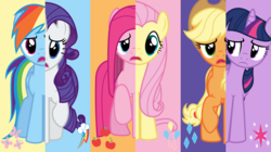 Size: 7600x4242 | Tagged: absurd res, applejack, artist:twilirity, fluttershy, mane six, pinkamena diane pie, pinkie pie, pony, rainbow dash, rarity, safe, swapped cutie marks, twilight sparkle, vector, what my cutie mark is telling me