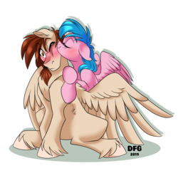 Size: 4008x4003 | Tagged: artist:dragonfoxgirl, blushing, canon x oc, firefly, kissing, kiss on the cheek, oc, oc:west wind, safe