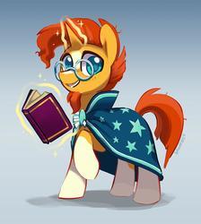 Size: 1200x1337 | Tagged: safe, artist:dawnfire, sunburst, pony, unicorn, book, clothes, coat markings, cute, looking at you, magic, male, robe, smiling, socks (coat markings), solo, stallion, sunbetes, telekinesis