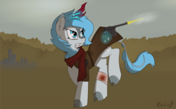 Size: 2000x1249 | Tagged: action, artist:exvius, bandage, blood, bloody bandages, cloak, clothes, cloven hooves, fallout equestria, gun, kirin, kirin oc, magic, oc, oc:frost flare, pony, running, safe, scarf, shooting, solo, waist land, wasteland, weapon