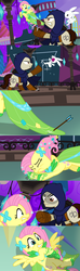 Size: 1920x6480 | Tagged: alternate version, angel bunny, angry, animal, arrow, artist:christhes, cloak, clothes, collaboration, comic, comic:friendship is dragons, crossbow, crossover, dress, earth pony, eyes closed, female, fight, fluttershy, flying, gala dress, garrett, implied applejack, implied rainbow dash, implied twilight sparkle, injured, looking up, male, mare, night, onomatopoeia, pegasus, ponified, pony, rabbit, safe, scared, shadow, show accurate, spread wings, stallion, stars, thief (video game), wings, worried