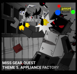 Size: 1481x1416 | Tagged: safe, artist:wvdr220dr, oc, earth pony, pony, robot, robot pony, action, appliances, beta, boots, factory, female, gearing, imfomaz os, melee, monster bots, music, refrigerator, shoes, soundtrack, television, video game