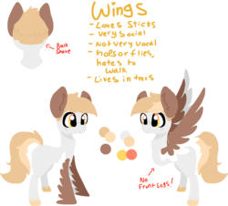 Size: 1640x1480 | Tagged: safe, artist:nootaz, oc, oc:wings, original species, reference sheet