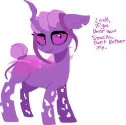 Size: 1104x1097 | Tagged: safe, artist:nootaz, oc, oc:snackbug, changeling queen, pony, changeling queen oc, chubby, purple changeling, simple background, speech, transparent background