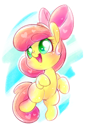 Size: 1200x1800 | Tagged: adorabloom, apple bloom, artist:tamabel, cute, earth pony, female, filly, heart, pony, safe, simple background, solo, white background