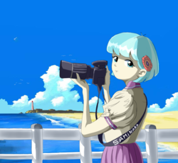 Size: 800x736 | Tagged: safe, artist:vinilyart, coco pommel, human, equestria girls, beach, camera, equestria girls-ified, fence, lighthouse, looking at you, ocean, scenery, solo