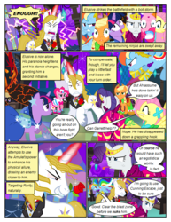 Size: 612x792 | Tagged: safe, artist:christhes, applejack, fluttershy, pinkie pie, prince blueblood, rainbow dash, rarity, twilight sparkle, earth pony, pegasus, pony, unicorn, comic:friendship is dragons, alicorn amulet, angry, clothes, collaboration, comic, dialogue, dress, evil grin, female, flower in mouth, flying, freckles, frown, gala dress, glare, glowing horn, grin, hat, hoof shoes, horn, jewelry, lightning, looking down, male, mane six, mare, night, party horn, raised hoof, rose, rose in mouth, shocked, show accurate, smiling, stallion, stars, surprised, tiara, unicorn twilight, unshorn fetlocks, upside down