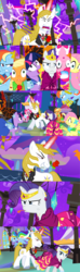 Size: 1920x6480 | Tagged: safe, alternate version, artist:christhes, applejack, fluttershy, pinkie pie, prince blueblood, rainbow dash, rarity, twilight sparkle, earth pony, pegasus, pony, unicorn, comic:friendship is dragons, alicorn amulet, angry, clothes, collaboration, comic, dress, evil grin, female, flower in mouth, flying, freckles, frown, gala dress, glare, glowing horn, grin, hat, hoof shoes, horn, jewelry, lightning, looking down, male, mane six, mare, night, party horn, raised hoof, rose, rose in mouth, shocked, show accurate, smiling, stallion, stars, surprised, tiara, unicorn twilight, unshorn fetlocks, upside down