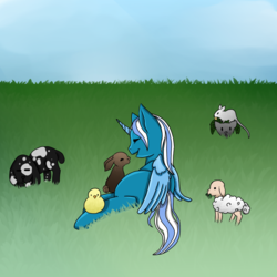 Size: 894x894 | Tagged: alicorn, alicorn oc, animal, artist:adopteverythings, commission, cute, duck, eyes closed, female, grass, happy, lamb, laying on side, mare, oc, oc:fleurbelle, rabbit, safe, sheep, sky, ych result, your character here