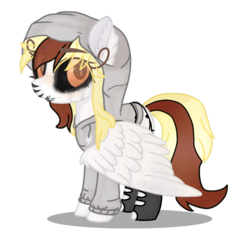 Size: 910x878 | Tagged: artist:xbutchershy, black sclera, clothes, colored sclera, female, hoodie, mare, markings, oc, oc only, oc:raggy, pegasus, pony, safe, simple background, socks, solo, stockings, thigh highs, torn clothes, transparent background