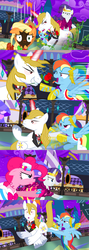Size: 1920x5400 | Tagged: alicorn amulet, alternate eye color, alternate version, angry, applejack, artist:christhes, burnt, clothes, collaboration, comic, comic:friendship is dragons, dress, earth pony, evil grin, female, flower in mouth, frown, gala dress, glowing horn, grin, gritted teeth, hat, horn, jewelry, kicking, looking at you, male, mare, night, pegasus, pinkie pie, pony, prince blueblood, rainbow dash, raised hoof, rarity, rose, rose in mouth, safe, show accurate, smiling, stallion, stars, surprised, tiara, unicorn, unshorn fetlocks, wide eyes