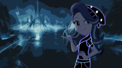 Size: 4000x2247 | Tagged: absurd res, beanie, beanie hat, beckoning, clothes, edit, equestria girls, glow, hat, high res, neon, photoshop, ripped pants, safe, starlight glimmer, torn clothes, tron legacy, wallpaper