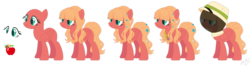Size: 1659x439 | Tagged: artist:nathy2001, artist:selenaede, bald, base used, beekeeper, element of kindness, female, flower, flower in hair, mare, oc, oc:applebee, offspring, parent:big macintosh, parent:fluttershy, parents:fluttermac, pegasus, pony, reference sheet, safe, simple background, solo, transparent background