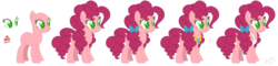 Size: 1859x443 | Tagged: apron, artist:nathy2001, artist:selenaede, bald, base used, bow, clothes, earth pony, element of laughter, female, hair bow, mare, oc, oc:cheesecake, offspring, parent:cheese sandwich, parent:pinkie pie, parents:cheesepie, pony, reference sheet, safe, simple background, solo, transparent background