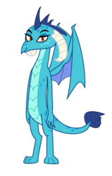 Size: 772x1212 | Tagged: artist:theawesomeguy98201, curved horn, cute, dragon, horn, looking at you, princess ember, safe, wings