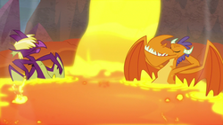 Size: 1280x720 | Tagged: billy (dragon), dragon, fume, lava, safe, screencap, spear (dragon), spoiler:s09e09, sweet and smoky