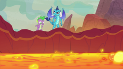 Size: 1280x720 | Tagged: dragon, dragoness, female, lava, princess ember, safe, screencap, spike, spoiler:s09e09, sweet and smoky