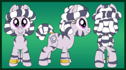 Size: 4500x2500 | Tagged: artist:pananovich, bracelet, c:, female, filly, from behind, front view, jewelry, looking at you, oc, oc only, oc:zala, safe, side view, smiling, solo, zebra, zebra oc