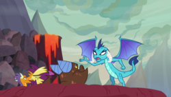 Size: 1920x1080 | Tagged: billy (dragon), clump, dragon, dragoness, female, fume, princess ember, safe, screencap, spear (dragon), spoiler:s09e09, sweet and smoky
