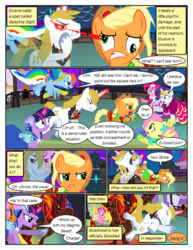 Size: 612x792 | Tagged: alicorn amulet, alternate eye color, angry, applejack, artist:christhes, braid, braided tail, bucking, clothes, collaboration, comic, comic:friendship is dragons, derp, dialogue, dress, earth pony, evil grin, eyes closed, female, fight, fluttershy, flying, gala dress, glare, glowing eyes, grin, hat, hoof shoes, invisible, laser, laurel wreath, looking back, male, mane six, mare, pegasus, pinkie pie, pointing, pony, possessed, prince blueblood, rainbow dash, raised hoof, rarity, safe, shocked, show accurate, smiling, stallion, twilight sparkle, unicorn, unicorn twilight, unshorn fetlocks, worried
