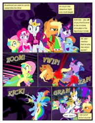 Size: 612x792 | Tagged: alicorn amulet, alternate eye color, angry, applejack, artist:christhes, blast, bucking, clothes, collaboration, comic, comic:friendship is dragons, confused, derp, dialogue, dress, evil grin, eyes closed, female, fight, fluttershy, fog, freckles, frown, gala dress, glare, glowing horn, grin, hat, horn, injured, jewelry, laurel wreath, lip bite, looking back, magic, magic beam, magic blast, male, mane six, mare, messy mane, onomatopoeia, pinkie pie, pony, prince blueblood, rainbow dash, rarity, safe, scared, shadow, show accurate, sitting, smiling, stallion, tiara, twilight sparkle, wide eyes, worried