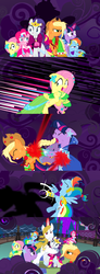 Size: 1920x5200 | Tagged: alicorn amulet, alternate eye color, alternate version, angry, applejack, artist:christhes, blast, bucking, clothes, collaboration, comic, comic:friendship is dragons, confused, derp, dress, evil grin, eyes closed, female, fight, fluttershy, fog, freckles, frown, gala dress, glare, glowing horn, grin, hat, horn, injured, jewelry, laurel wreath, lip bite, looking back, magic, magic beam, magic blast, male, mane six, mare, messy mane, onomatopoeia, pinkie pie, pony, possessed, prince blueblood, rainbow dash, rarity, safe, scared, shadow, show accurate, sitting, smiling, stallion, tiara, twilight sparkle, wide eyes, worried
