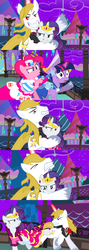 Size: 1920x5400 | Tagged: alicorn amulet, alternate eye color, alternate version, angry, artist:christhes, biting, bucking, clothes, collaboration, comic, comic:friendship is dragons, dress, earth pony, evil grin, female, flower, frown, gala dress, glare, glowing horn, grin, horn, injured, jewelry, looking back, male, mare, night, pinkie pie, pony, possessed, rarity, rose, safe, show accurate, smiling, stallion, stars, tiara, twilight sparkle, unicorn, unicorn twilight, unshorn fetlocks, worried