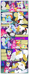 Size: 612x1553 | Tagged: alicorn amulet, angry, applejack, artist:christhes, cheering, clothes, collaboration, comic, comic:friendship is dragons, covering ears, dialogue, dress, earth pony, eyes closed, female, flower, fluttershy, gala dress, glare, glowing horn, grin, hoof shoes, horn, injured, jewelry, lightning, looking back, male, mane six, mare, music notes, night, onomatopoeia, pegasus, pinkie pie, pom pom, pony, possessed, prince blueblood, rainbow dash, raised hoof, rarity, rose, safe, show accurate, smiling, stallion, stars, tiara, twilight sparkle, unicorn, unicorn twilight, unshorn fetlocks