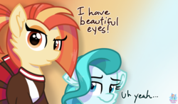 Size: 1811x1065 | Tagged: artist:rainbow eevee, cheerleader, cheerleader outfit, clothes, cute, dialogue, duckface, earth pony, eye, eyes, eyeshadow, female, gradient background, lighthoof, lighthoof is not amused, looking at you, makeup, pony, rio (movie), safe, shimmy shake, simple background, text