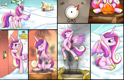 Size: 626x402 | Tagged: safe, artist:3500joel, princess cadance, alicorn, pony, burned, burned butt, butt, butt fire, chimney, comic, female, fire, literal butthurt, mare, pain, plot, snow, solo, soot