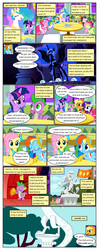 Size: 612x1553 | Tagged: alicorn, apple bloom, applejack, artist:newbiespud, bipedal, bow, cheerilee, clothes, comic, comic:friendship is dragons, dialogue, diamond tiara, discord, draconequus, dragon, dress, earth pony, edited screencap, ethereal mane, eyes closed, female, filly, flag, fluttershy, freckles, friendship is magic, gala dress, gala ticket, hair bow, hat, injured, laurel wreath, male, mane seven, mane six, mare, messy mane, nightmare moon, pegasus, pinkie pie, pony, princess celestia, rainbow dash, raised hoof, rarity, safe, scootaloo, screencap, screencap comic, slit eyes, spike, starry mane, statue, the best night ever, the return of harmony, twilight sparkle, unicorn, unicorn twilight