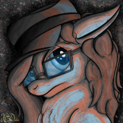 Size: 2000x2000 | Tagged: safe, artist:kayosdrive, oc, oc only, oc:kay, earth pony, pony, abstract background, bust, frown, glasses, hat, limited palette, male, portrait, solo, stallion
