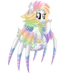 Size: 3000x3000 | Tagged: artist:crystal-tranquility, female, monster pony, oc, oc:prism heart, original species, safe, simple background, solo, spiderpony, transparent background