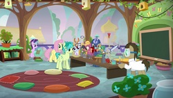 Size: 1920x1080   Tagged: safe, screencap, doctor whooves, fire flicker, fluttershy, midnight snack (character), sandbar, starlight glimmer, summer meadow, time turner, bird, butterfly, earth pony, pegasus, pony, unicorn, a horse shoe-in, balloon, bird house, bird nest, book, bookshelf, bunsen burner, chalkboard, chick, classroom, clipboard, clothes, coiling, electric fan, erlenmeyer flask, eyedropper, female, flower, fluttershy's classroom, friendship student, glowing horn, goggles, horn, lab coat, levitation, magic, magic aura, male, mare, nest, pillow, pinwheel (toy), pliers, potted plant, rube goldberg machine, rug, safety goggles, science, scissors, setup, shelf, stallion, table, teenager, telekinesis, tongs, weight