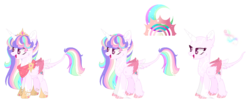 Size: 1449x598 | Tagged: alicorn, artist:starling-sentry-yt, bald, female, magical lesbian spawn, mare, oc, oc:sunshine moonfield, offspring, parent:rainbow dash, parents:twidash, parent:twilight sparkle, pony, safe, solo, two toned wings, wings