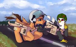 Size: 3181x2000 | Tagged: safe, artist:kotya, oc, oc:brightsky wing, oc:gerda, oc:mayday, griffon, pegasus, pony, box, helmet, wings