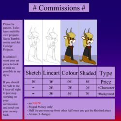 "Size: 1280x1280 | Tagged: advertisement, artist:vol_audacity, commission info, deer, hybrid, oc, oc:leviathan ""vol"" audacity, pony, safe, sample, simple"
